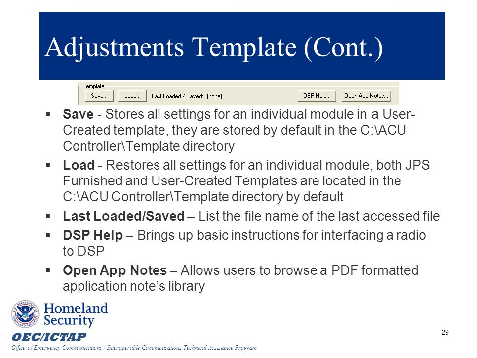 Adjustments Template (Cont.)