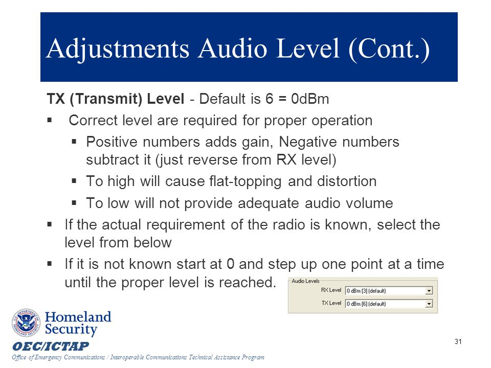 Adjustments Audio Level (Cont.)