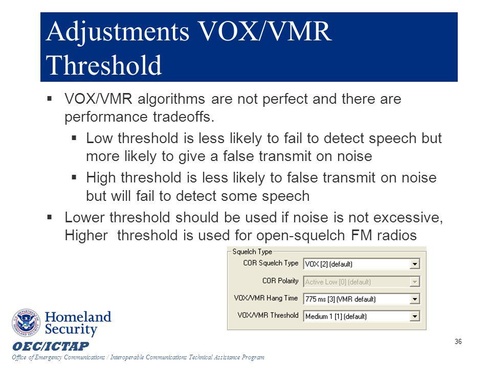 Adjustments VOX/VMR Threshold