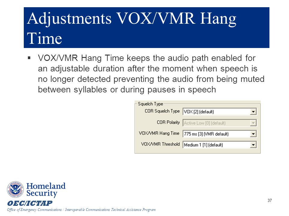 Adjustments VOX/VMR Hang Time