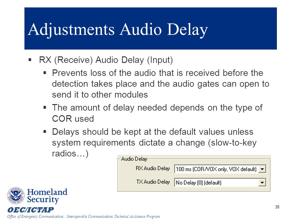 Adjustments Audio Delay