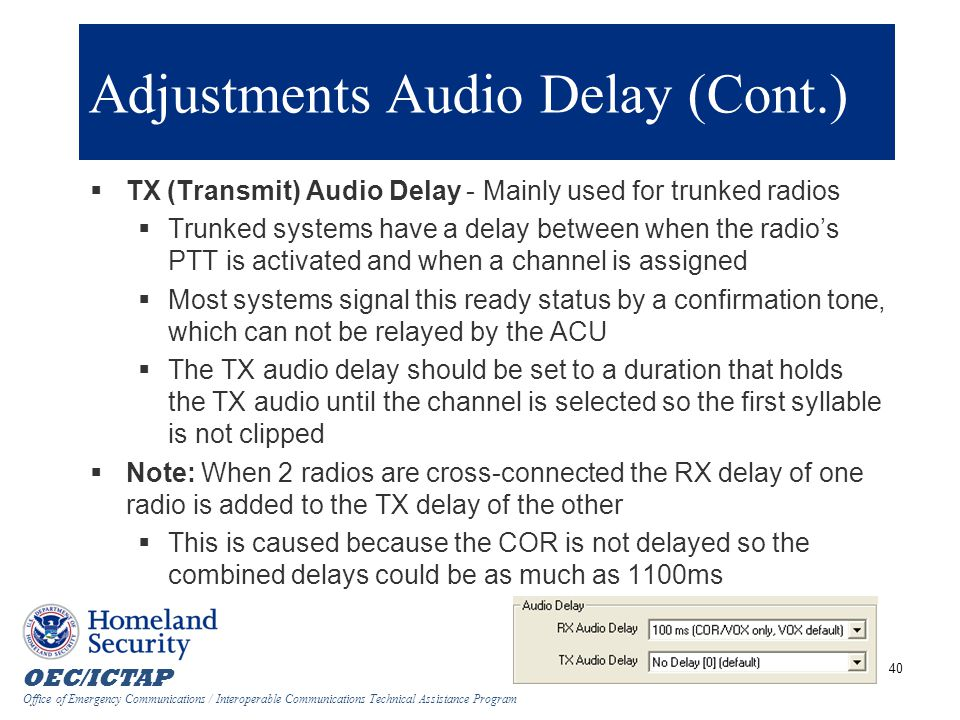 Adjustments Audio Delay (Cont.)