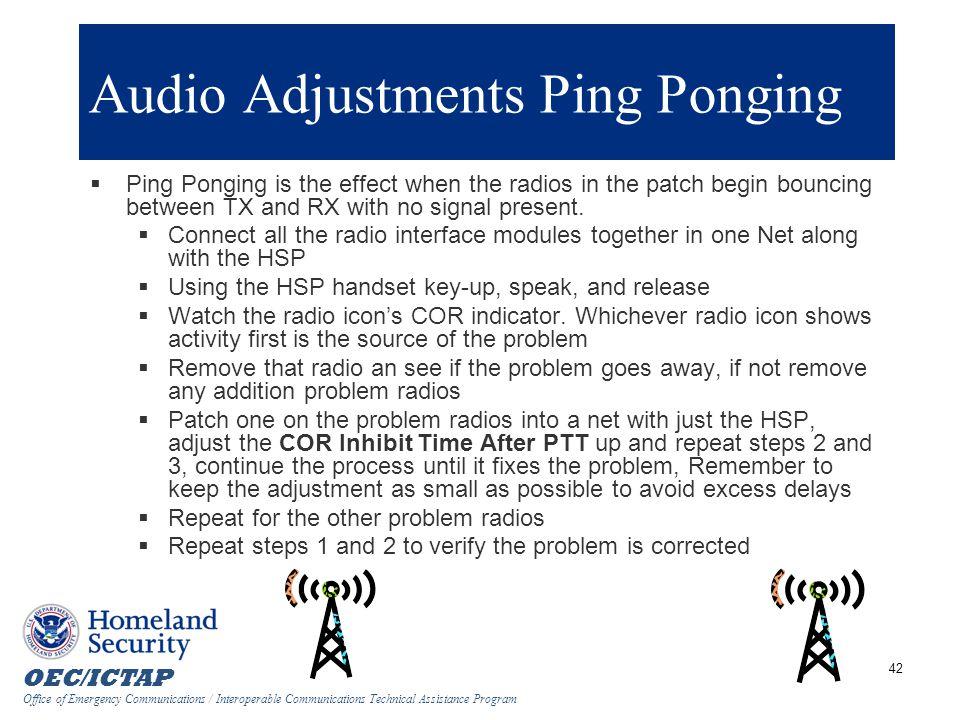 Audio Adjustments Ping Ponging