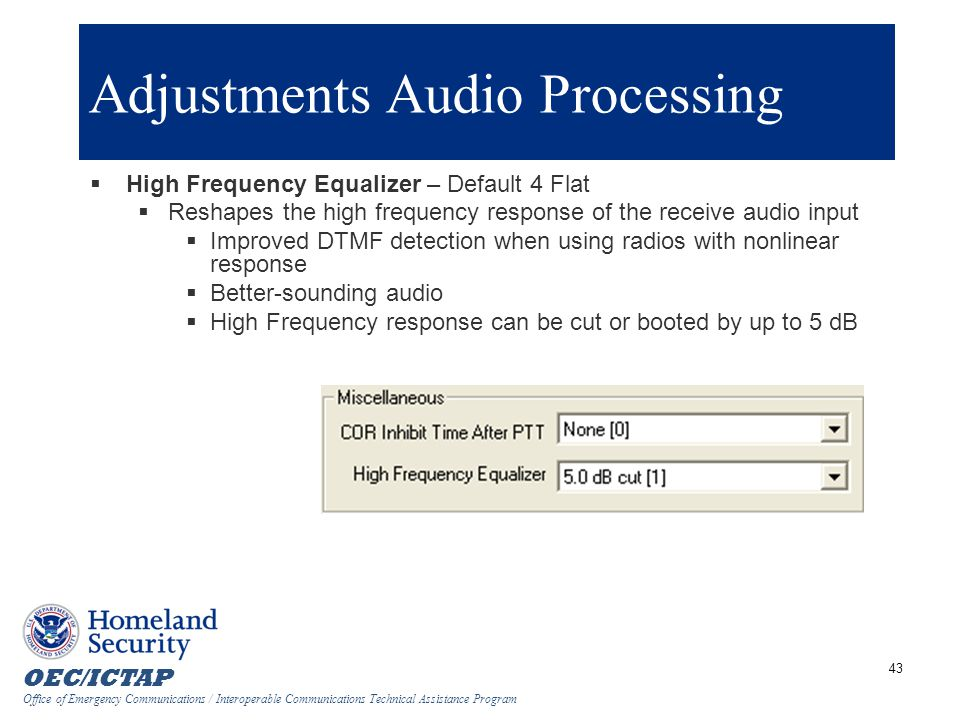 Adjustments Audio Processing