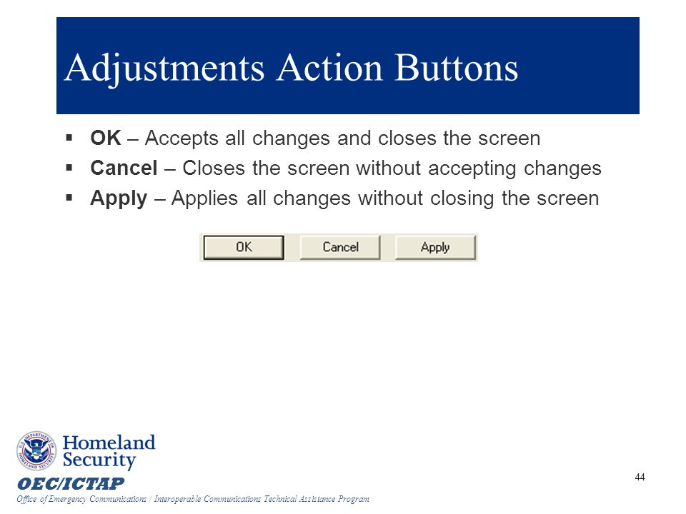 Adjustments Action Buttons