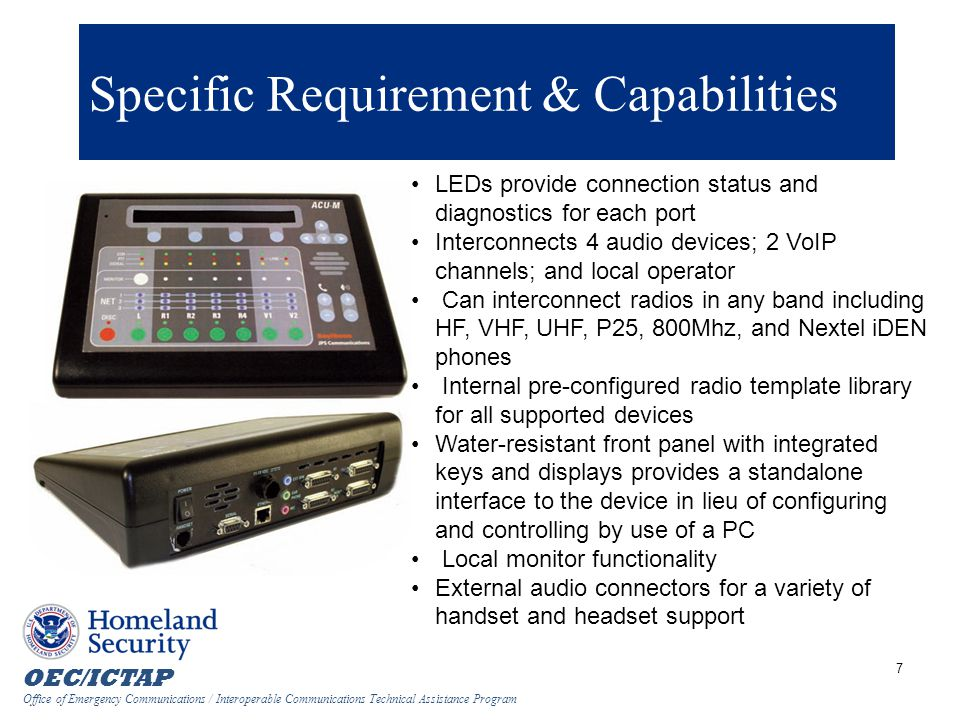 Specific Requirement & Capabilities