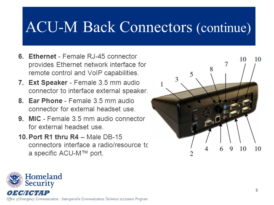 ACU-M Back Connectors (continue)