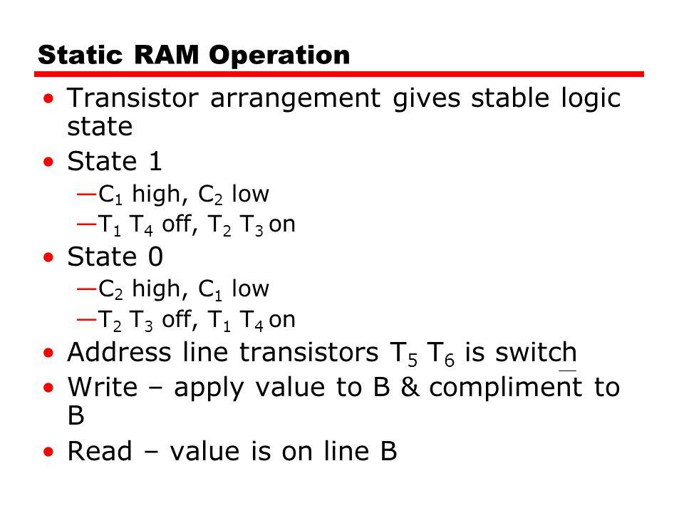 Transistor arrangement gives stable logic state State 1
