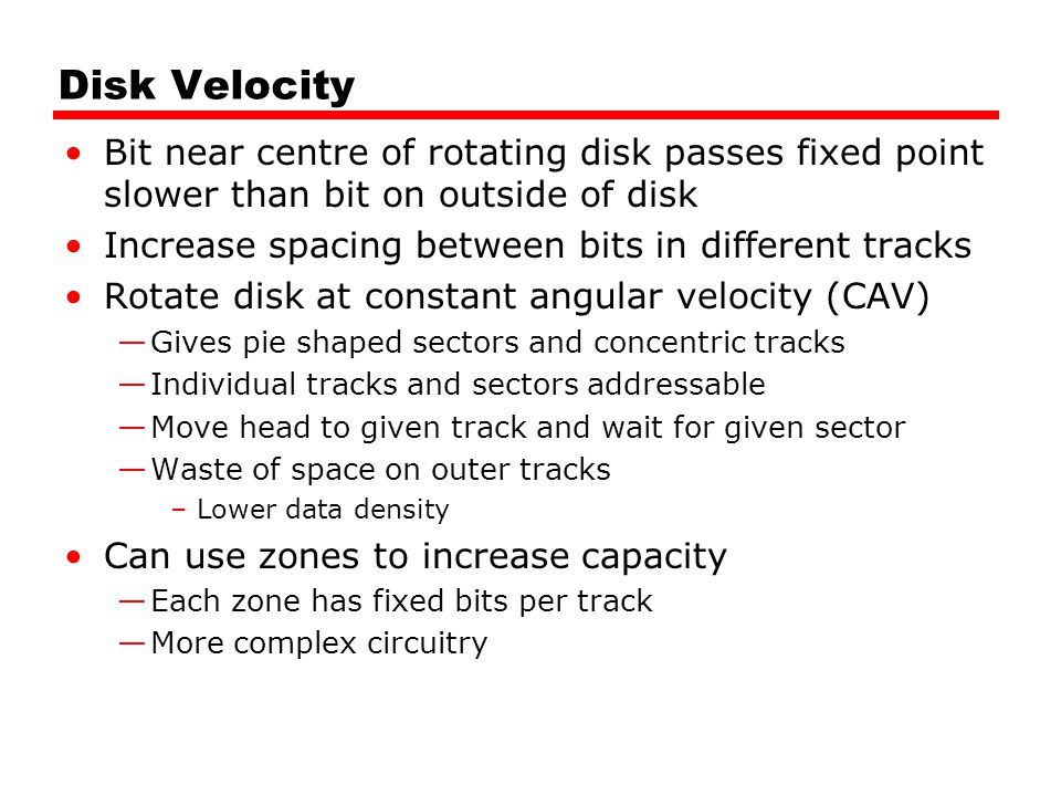 Disk Velocity Bit near centre of rotating disk passes fixed point slower than bit on outside of disk.