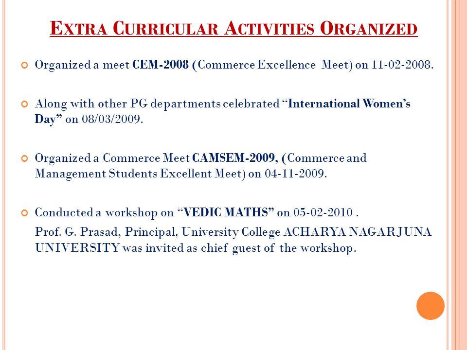 Extra Curricular Activities Organized