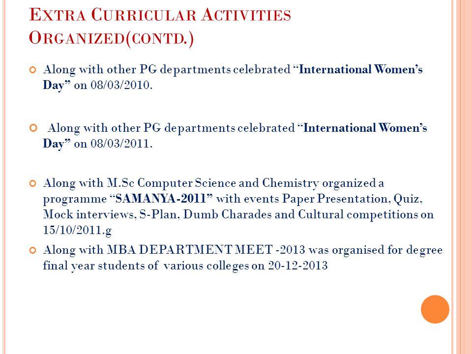 Extra Curricular Activities Organized(contd.)