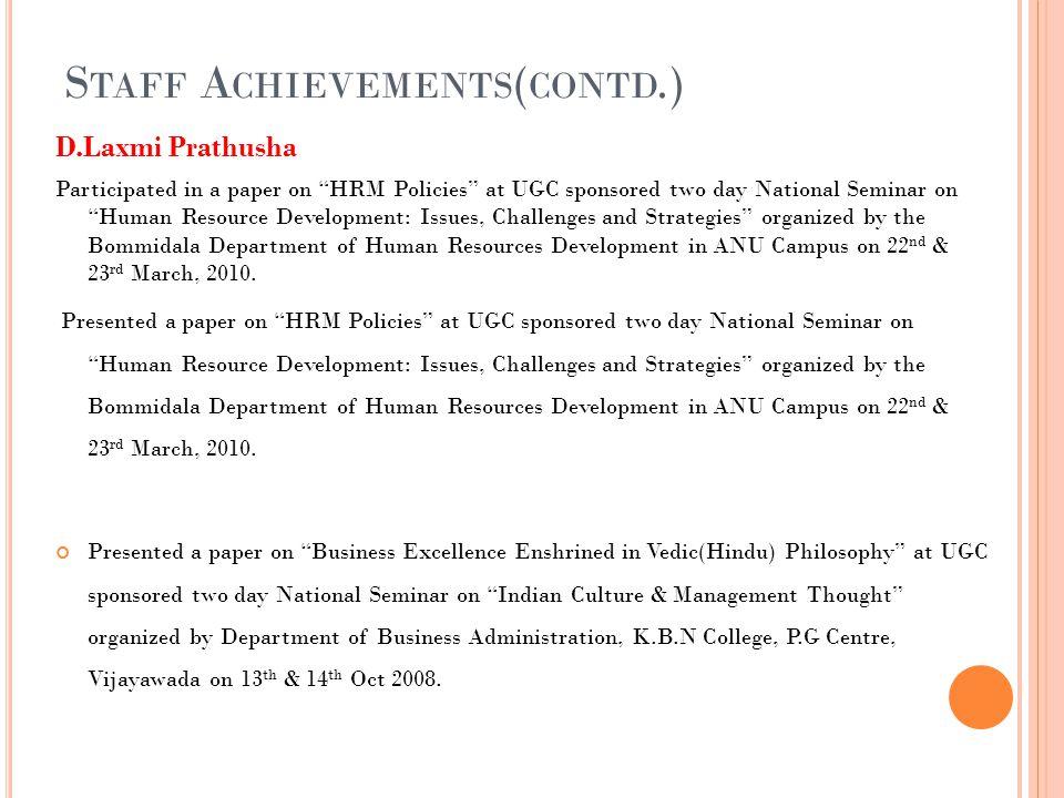 Staff Achievements(contd.)