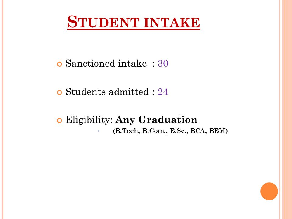 Student intake Sanctioned intake : 30 Students admitted : 24