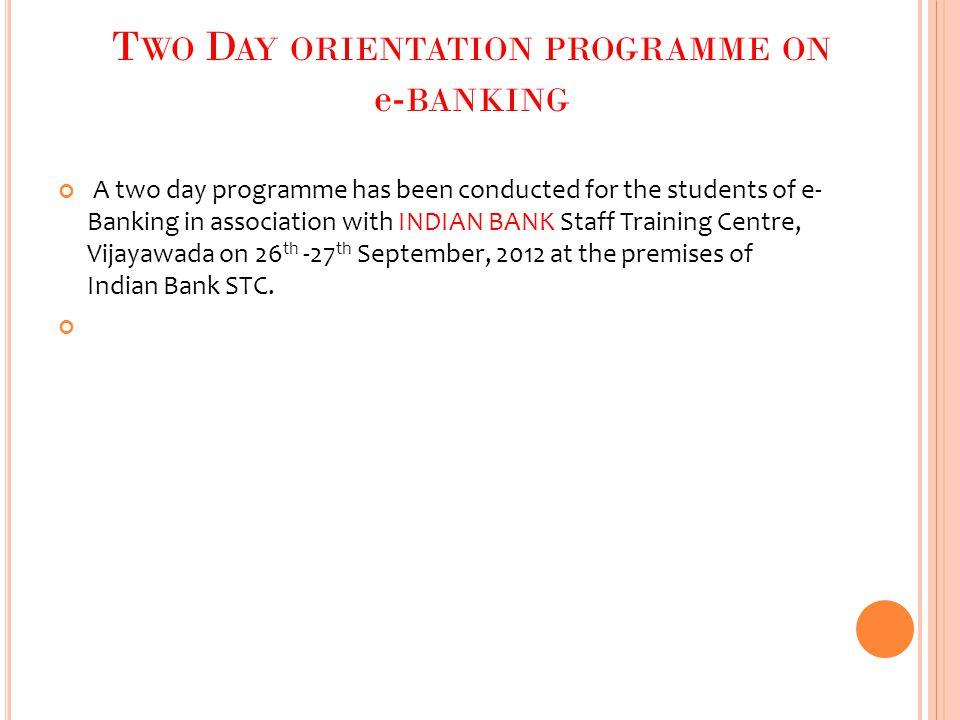 Two Day orientation programme on e-banking