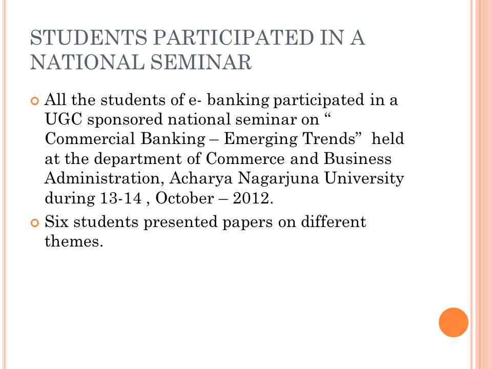 STUDENTS PARTICIPATED IN A NATIONAL SEMINAR