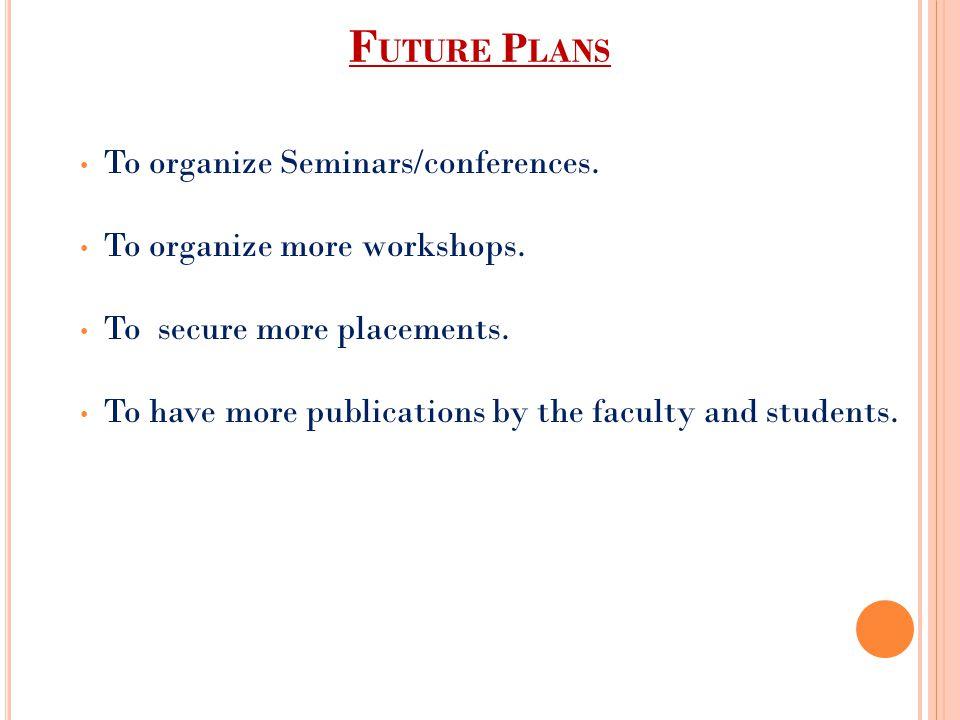 Future Plans To organize Seminars/conferences.