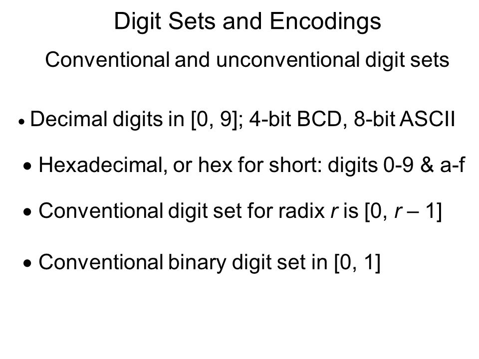 Digit Sets and Encodings