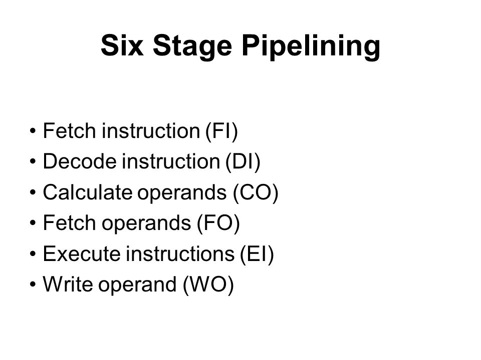 Six Stage Pipelining • Fetch instruction (FI)