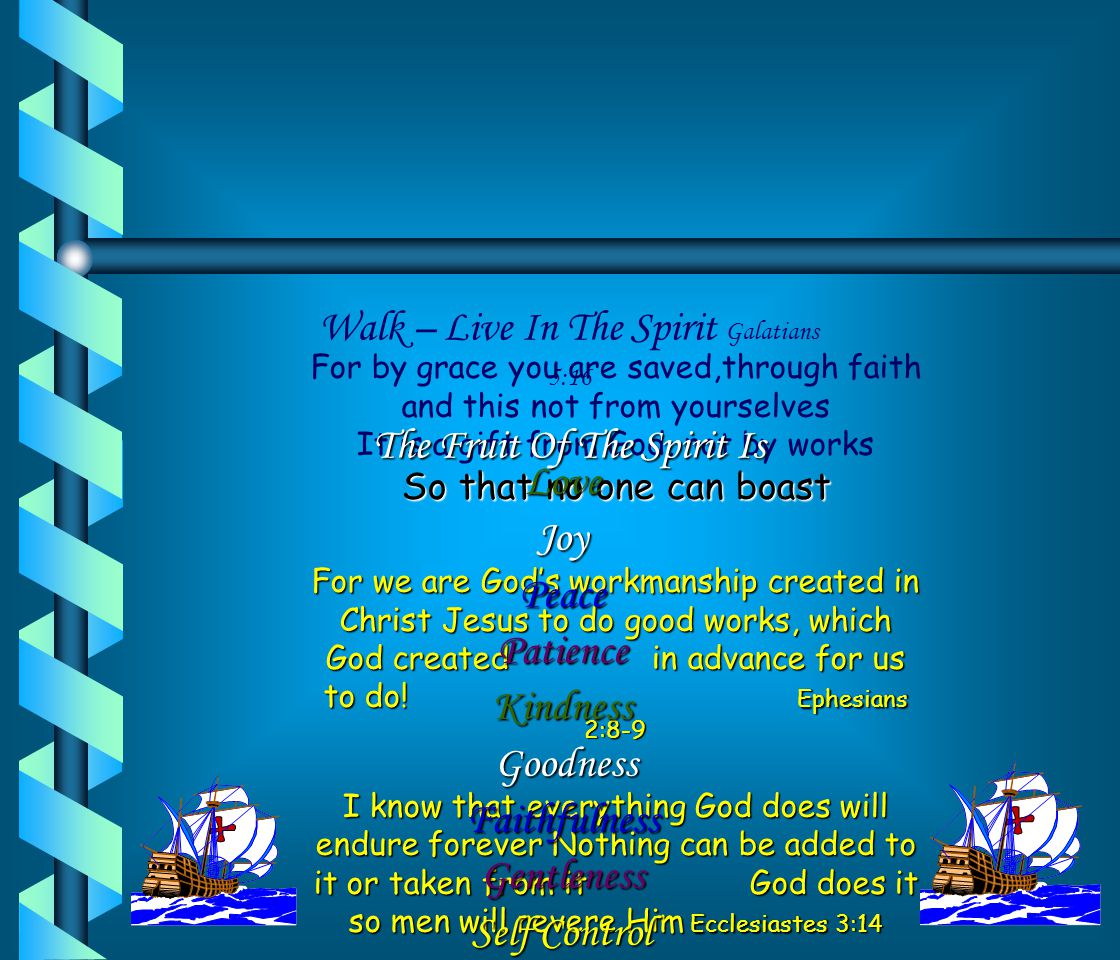 Walk – Live In The Spirit Galatians 5:16 The Fruit Of The Spirit Is