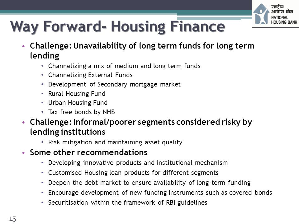 Way Forward- Housing Finance