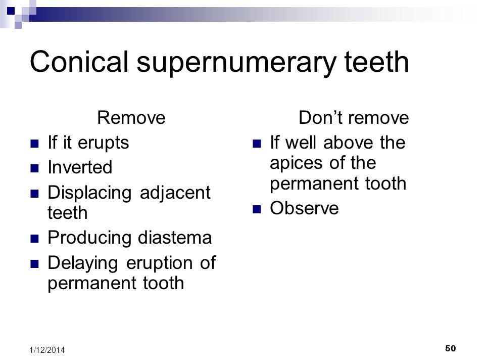 Conical supernumerary teeth