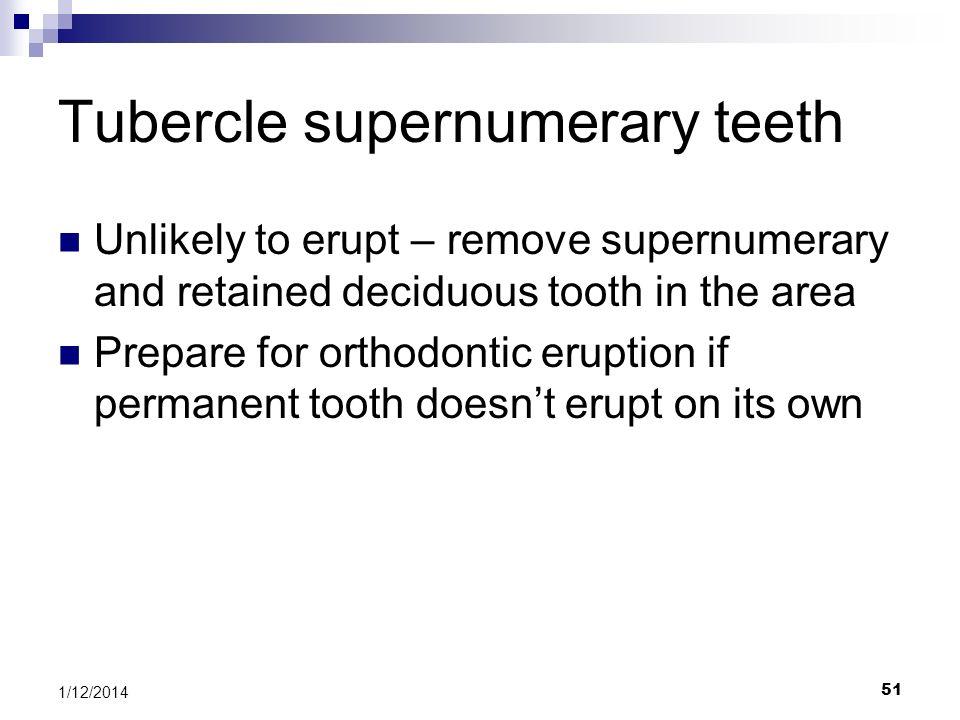 Tubercle supernumerary teeth