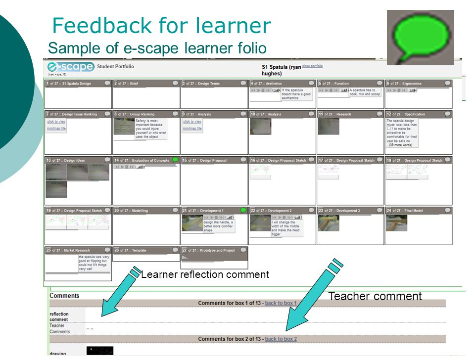 Sample of e-scape learner folio