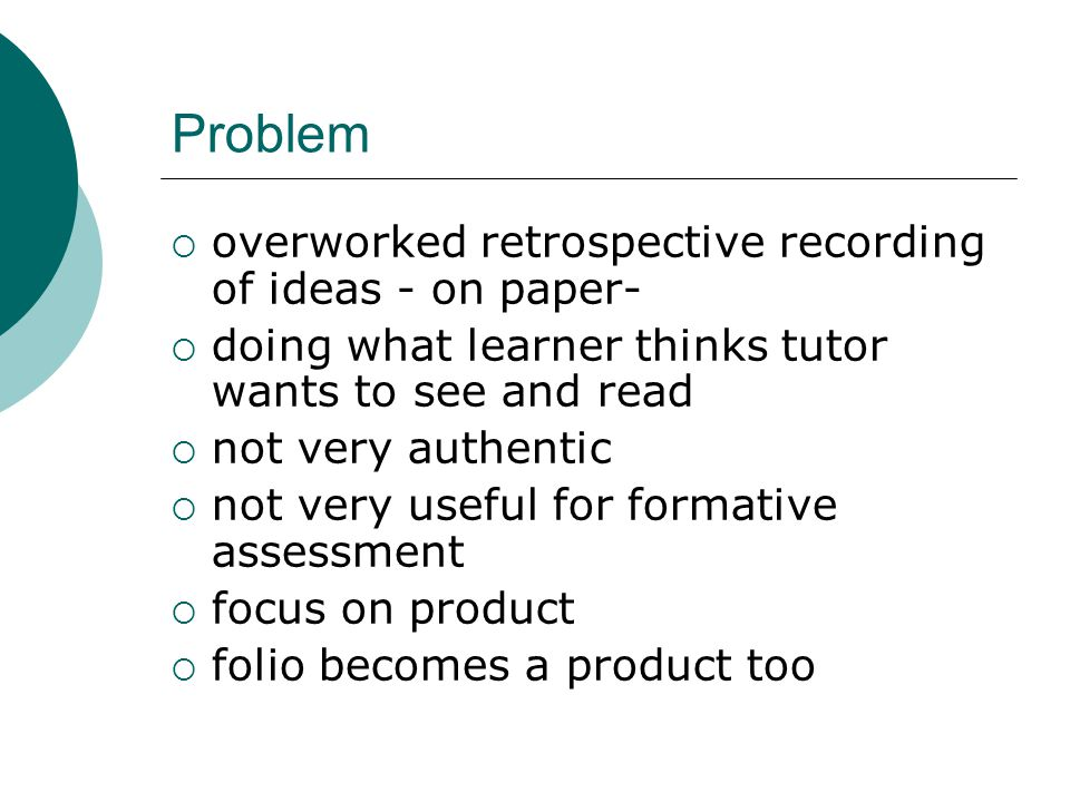 Problem overworked retrospective recording of ideas - on paper-