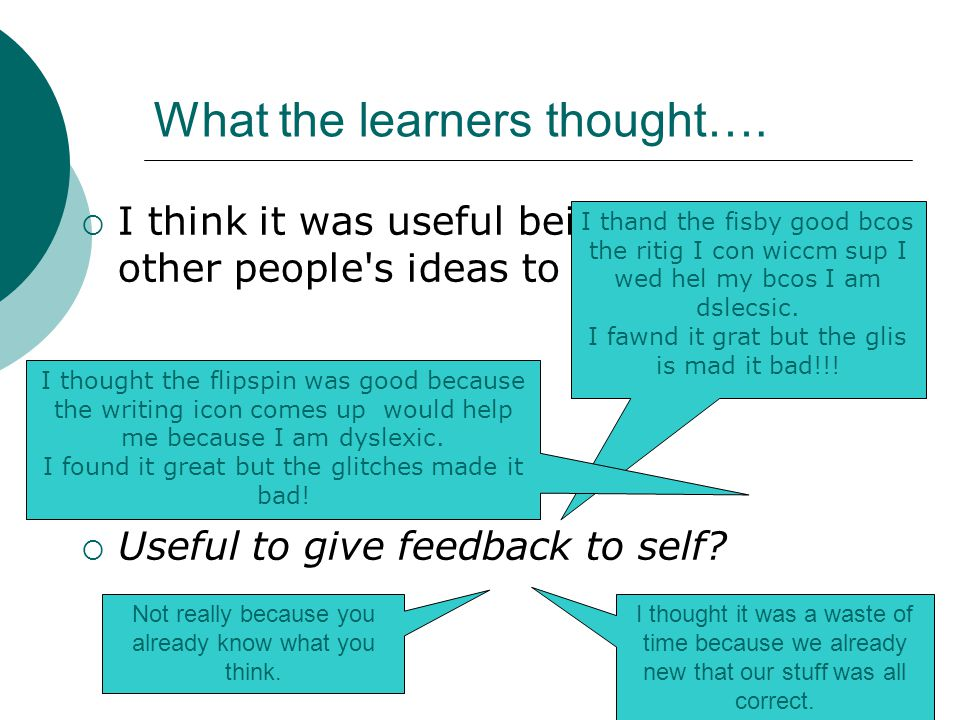 What the learners thought….