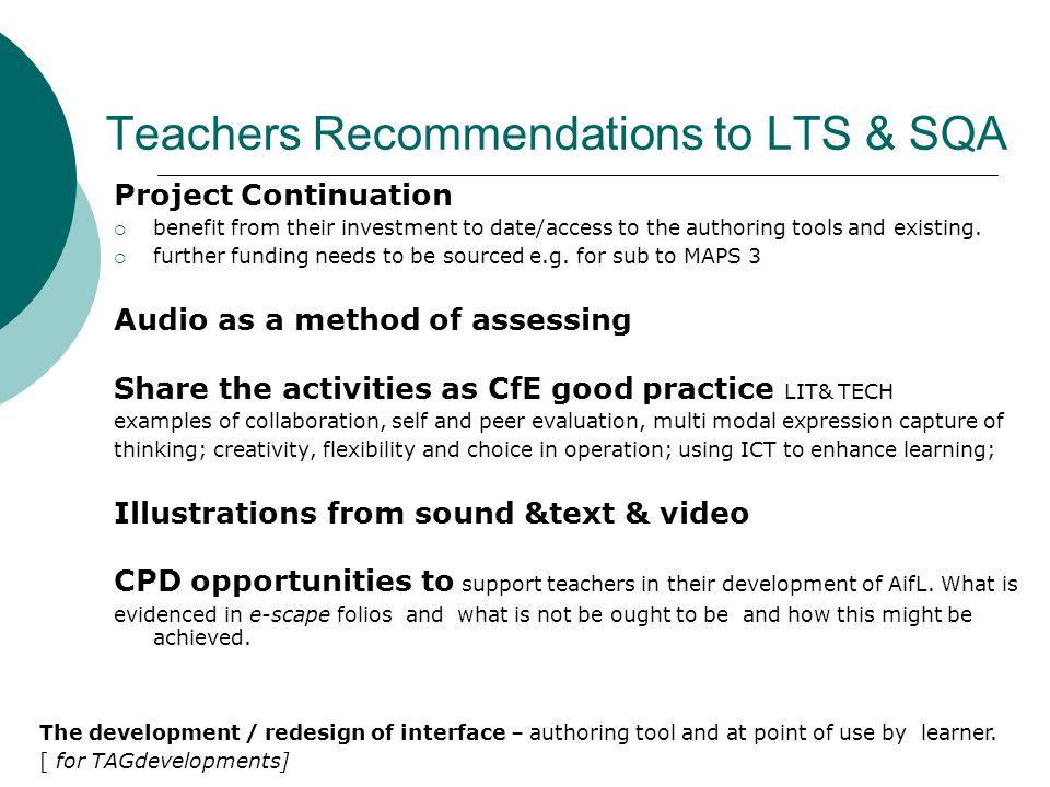 Teachers Recommendations to LTS & SQA