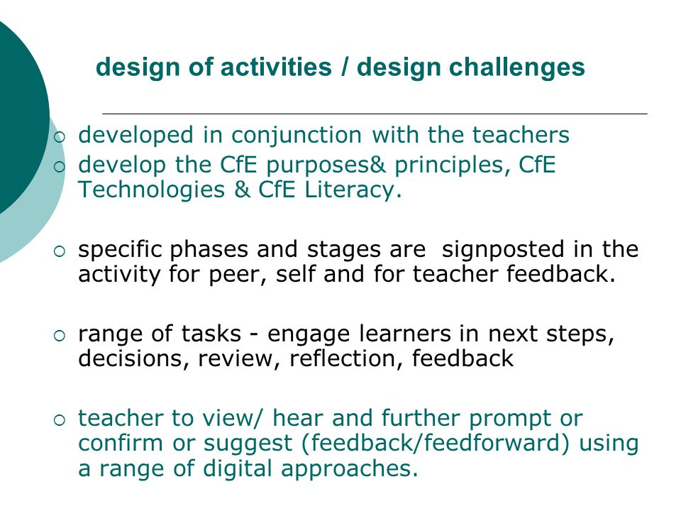 design of activities / design challenges