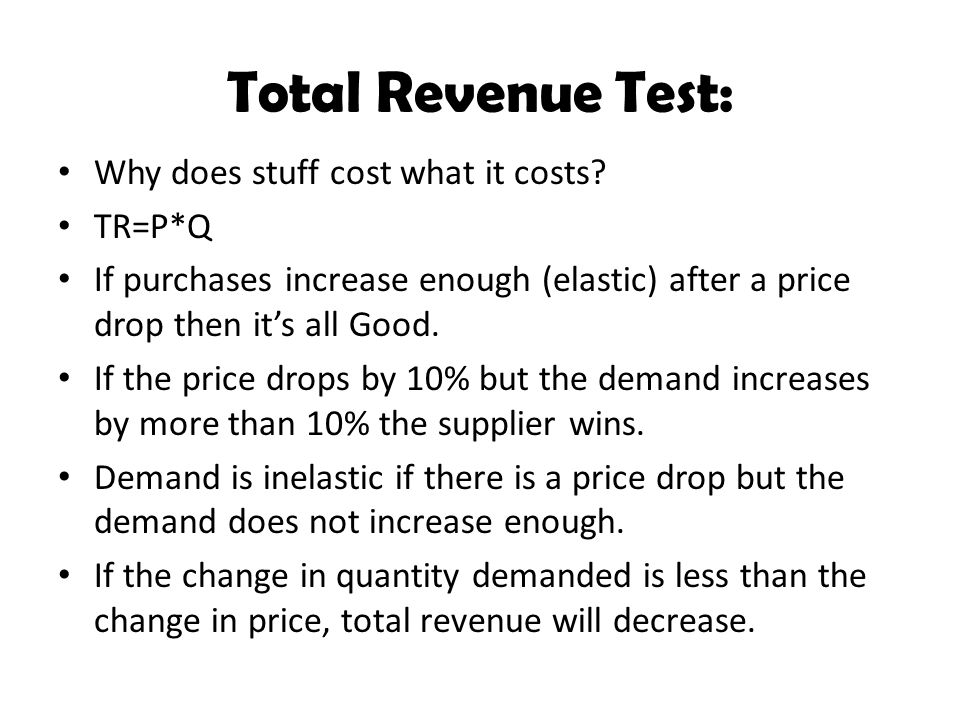 Total Revenue Test: Why does stuff cost what it costs TR=P*Q