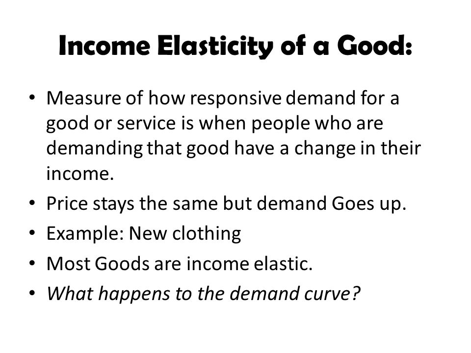 Income Elasticity of a Good: