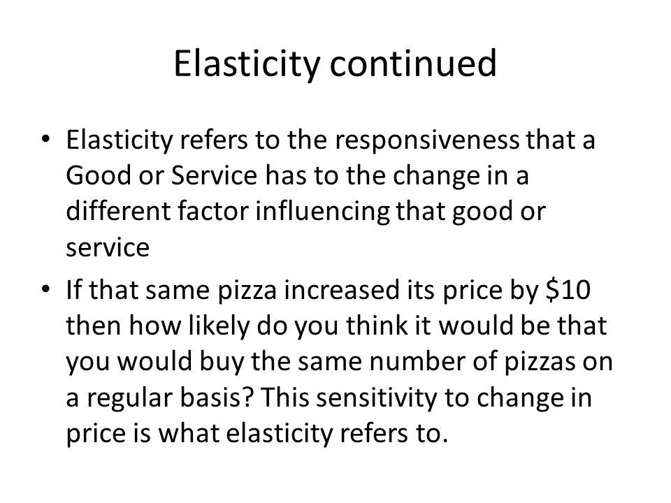 Elasticity continued