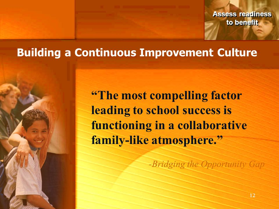 Assess readiness to benefit. Building a Continuous Improvement Culture.