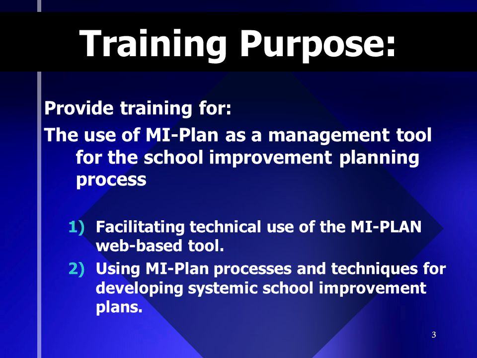 Training Purpose: Provide training for: