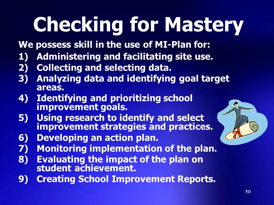 Checking for Mastery We possess skill in the use of MI-Plan for: