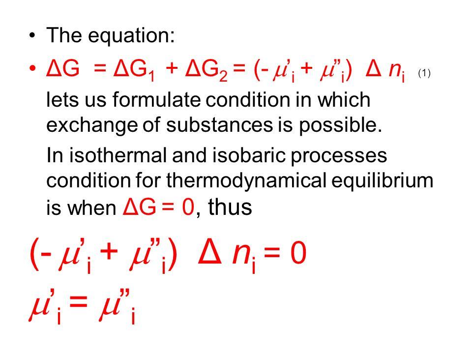 (- m'i + m i) Δ ni = 0 m'i = m i