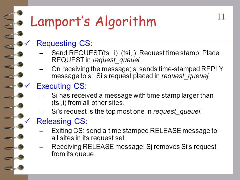 Lamport's Algorithm Requesting CS: Executing CS: Releasing CS: