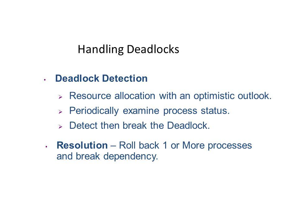 Handling Deadlocks Deadlock Detection