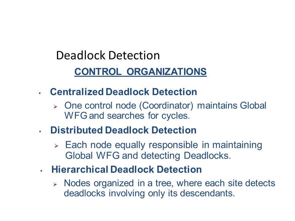 Deadlock Detection CONTROL ORGANIZATIONS