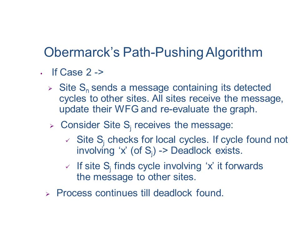 Obermarck's Path-Pushing Algorithm