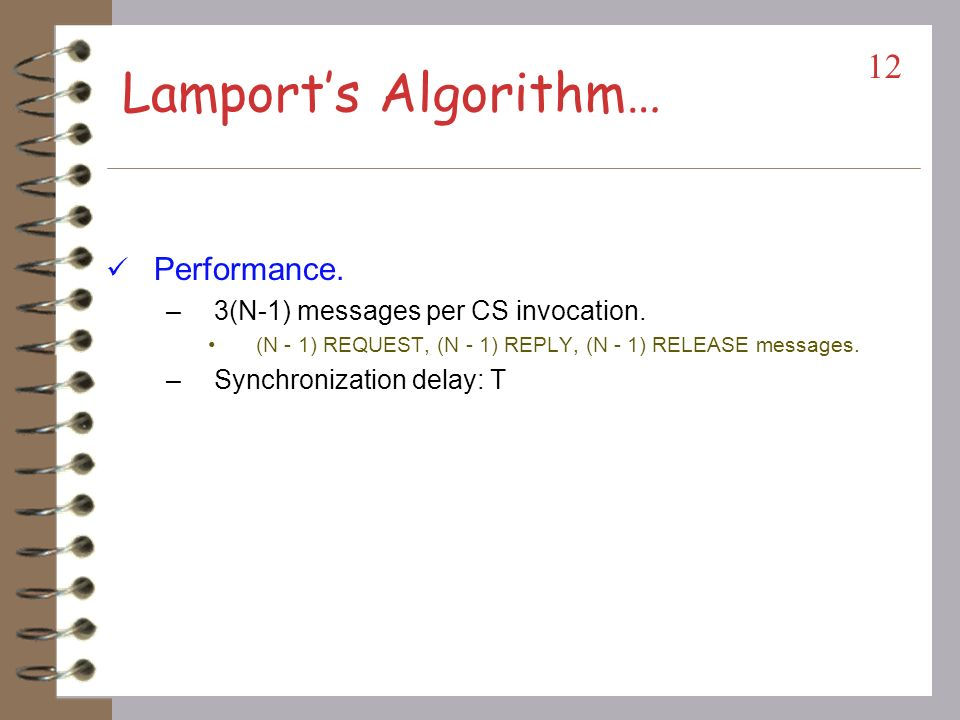Lamport's Algorithm… Performance. 3(N-1) messages per CS invocation.