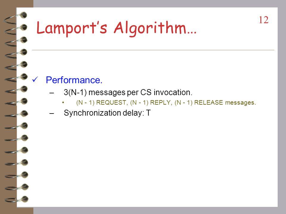 Lamport's Algorithm… Performance. 3(N-1) messages per CS invocation.