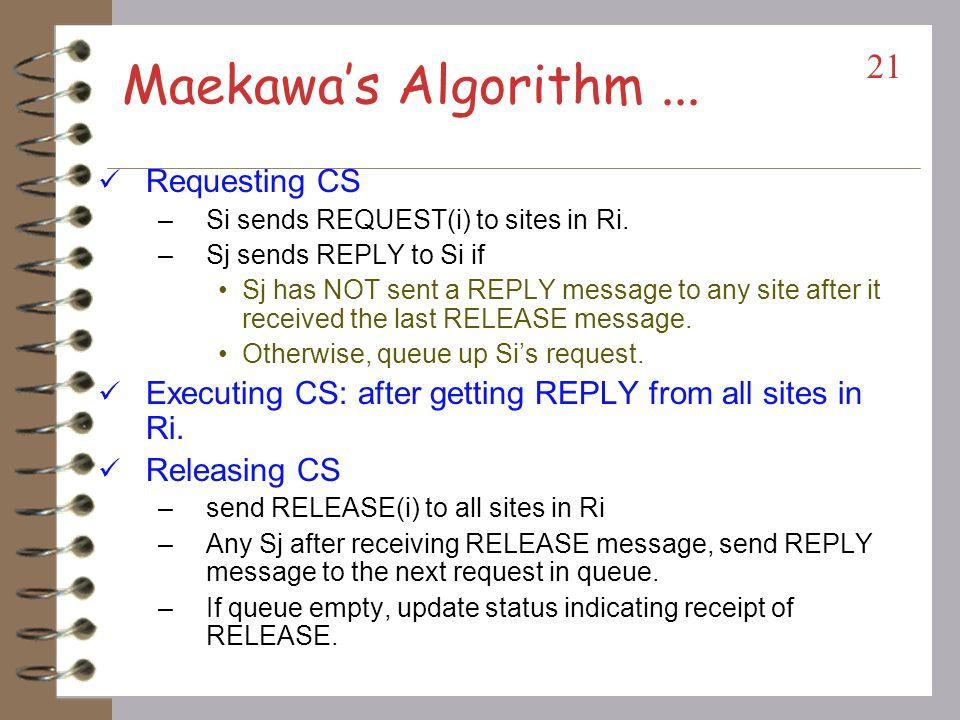 Maekawa's Algorithm ... Requesting CS