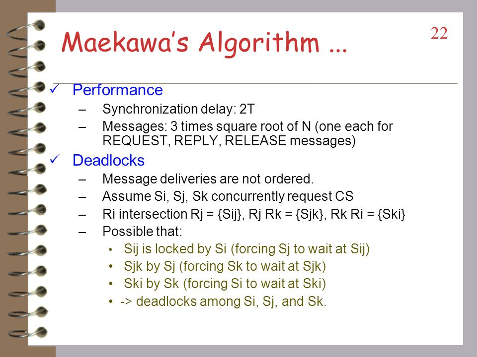 Maekawa's Algorithm ... Performance Deadlocks
