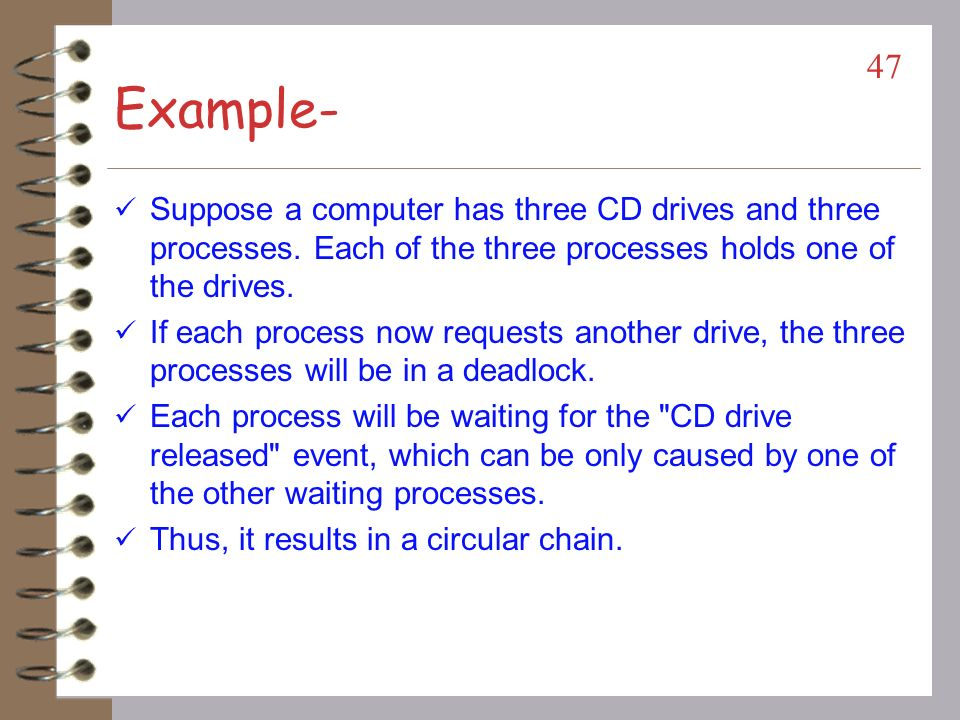 Example- Suppose a computer has three CD drives and three processes. Each of the three processes holds one of the drives.