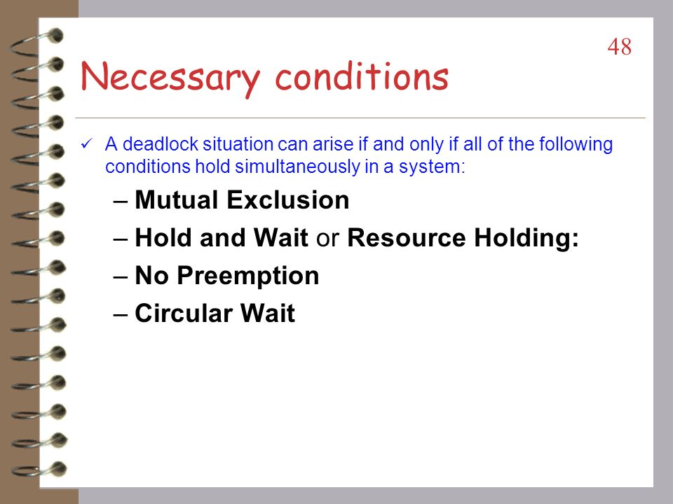 Necessary conditions Mutual Exclusion