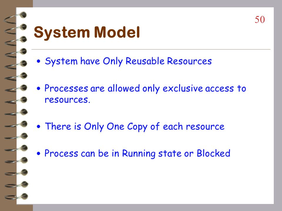System Model System have Only Reusable Resources
