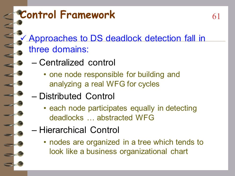 Control Framework Approaches to DS deadlock detection fall in three domains: Centralized control.